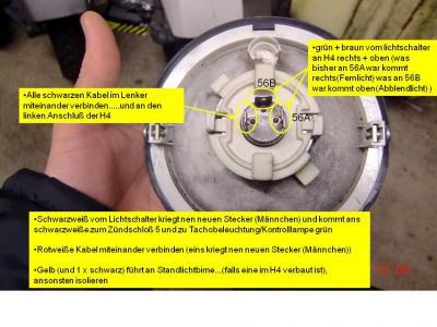 Verkabelung PX alt mit Batterie und H4 Klarglas - Vespa PX, T5, Cosa ...