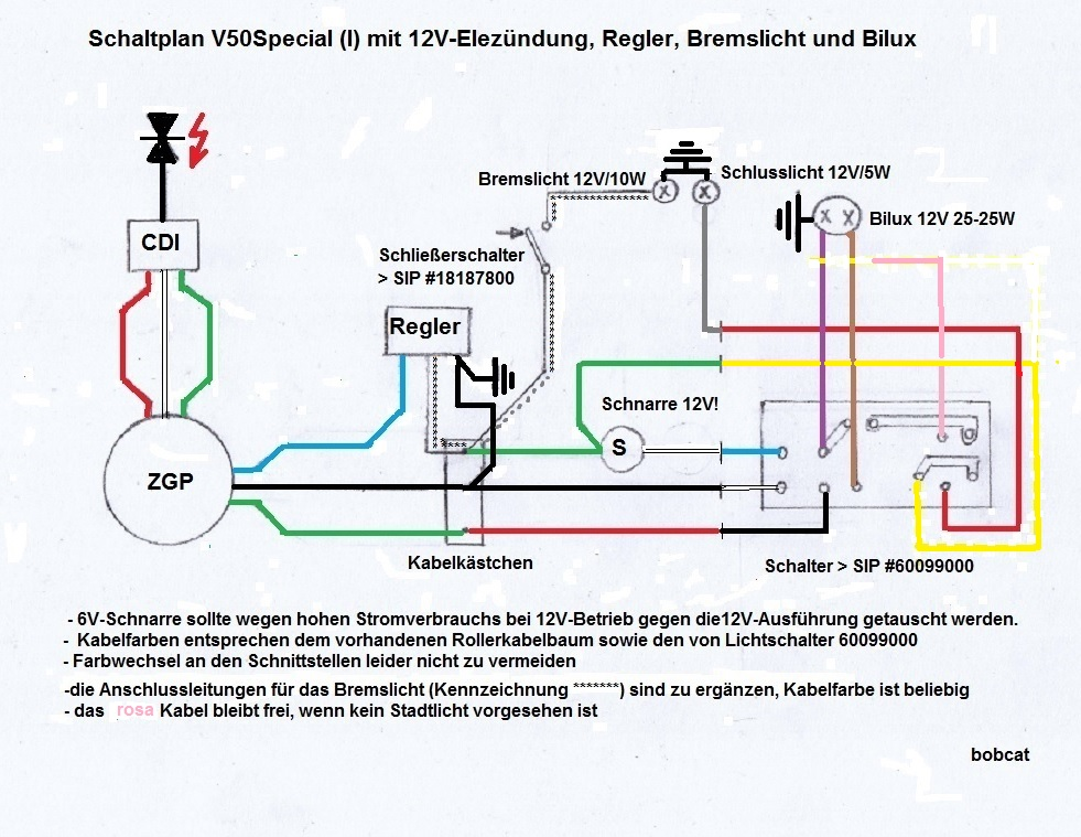 Lichtschalter umbauen auf Schließer / V50 Spezial - Vespa V50 ...