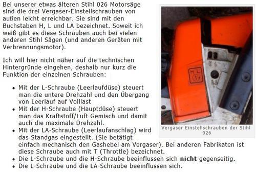 Stihl 026 vergaser einstellen