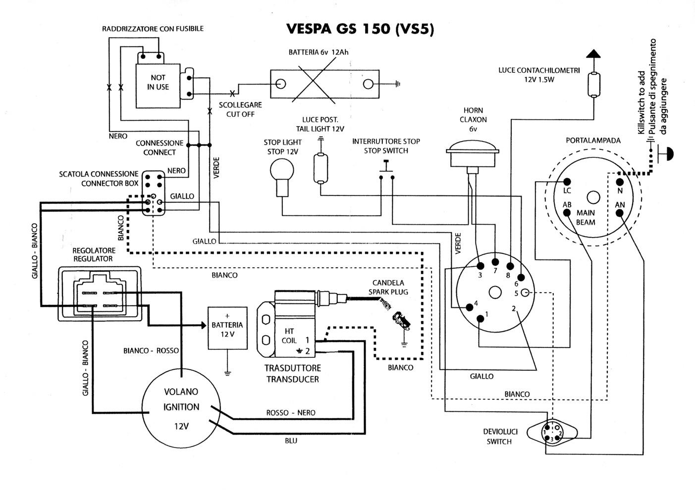 Vespa GS 150 mit FlytechConversionbaum  Vespa Rally  Sprint  VNA  VNB  VBB  V125  etc  GSF